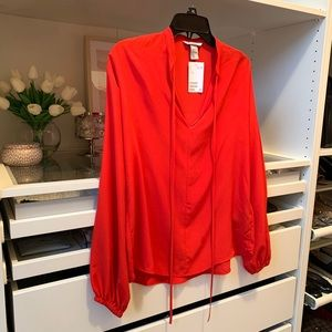 H&M Red V-Neck Balloon Sleeve Blouse NWT